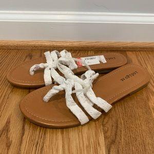 NWT White Eyelet Lace Sandals